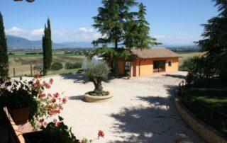 Ristorante dell agriturismo panorama sui campi in Umbria